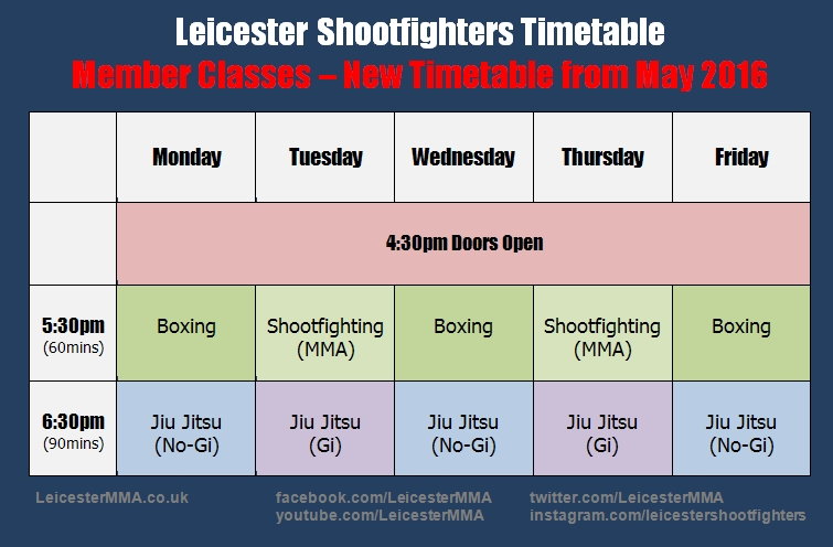 leicester shootfighters timetable may 2016 part 1