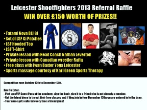 2013 Leicester Shootfighters referral raffle