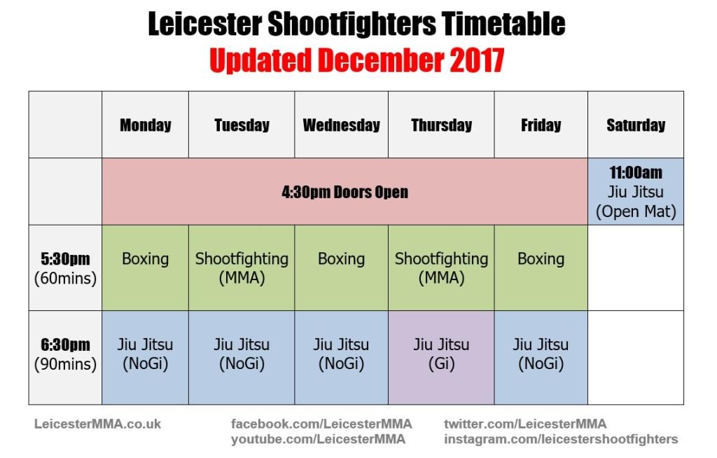 2018 timetable