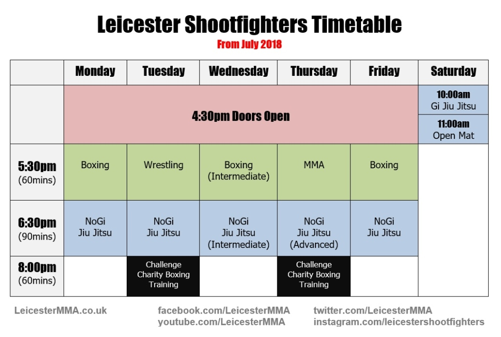 leicester_shootfighters_timetable_2018