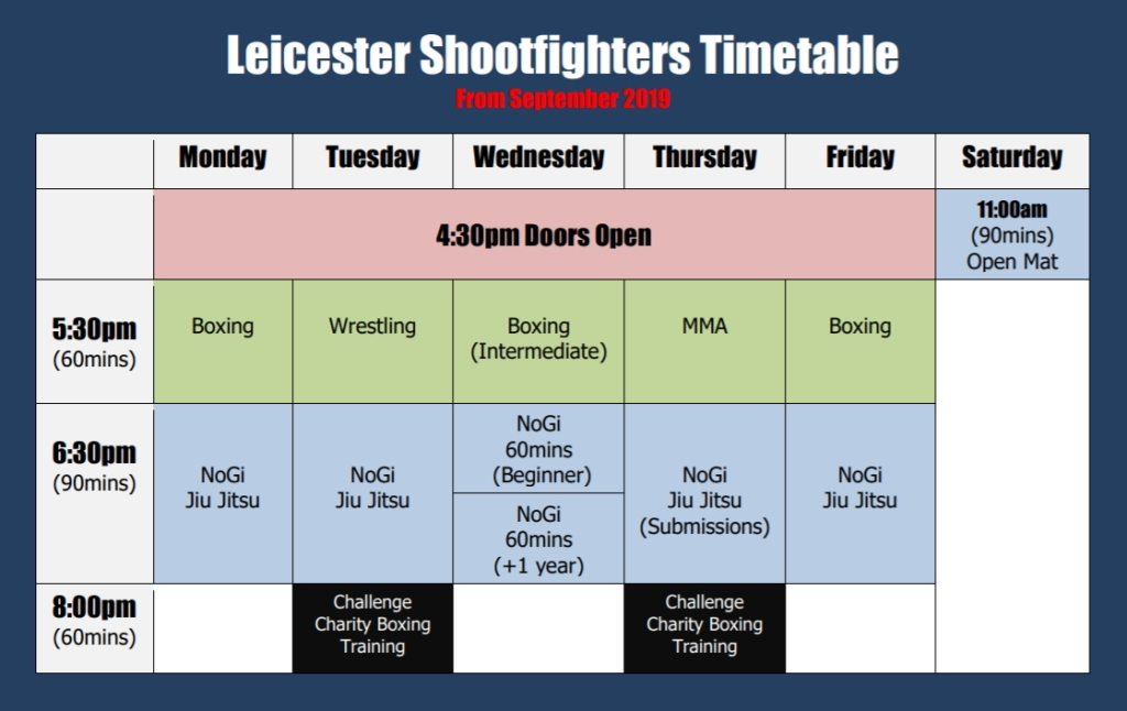 2019 leicester shootfighters timetable classes dark
