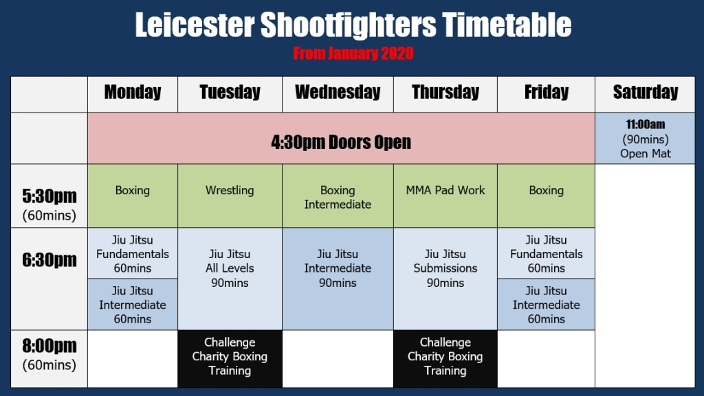 leicester shootfighters 2020 timetable dark
